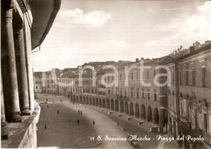 1955 SAN SEVERINO MARCHE (MC) Veduta aerea di Piazza del Popolo *Cartolina FG NV