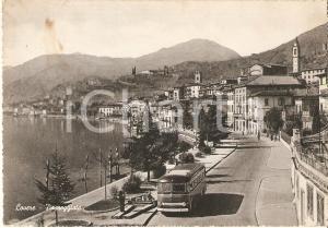 1953 LOVERE (BG) Uomo alla fermata dell'autobus - Panorama *Cartolina FG VG