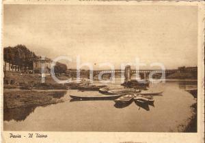1935 ca PAVIA Barche sul TICINO Panorama *Cartolina FG NV