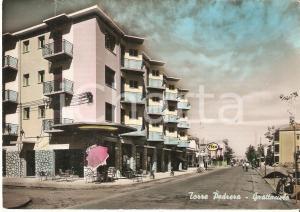 1955 RIMINI - TORRE PEDRERA Panorama con grattacielo e benzinaio ESSO *Cartolina