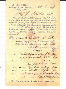 1927 PADOVA Libreria internazionale Angelo DRAGHI - Cedola per commissioni