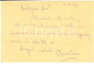 1929 PADOVA Pollione MARCOLIN ingegnere civile e idraulico - Biglietto autografo