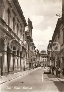1955 ca JESI (AN) Ufficio postale in Corso Matteotti - Panorama *Cartolina FG NV