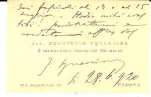 1920 PADOVA Avv. Ferruccio SQUARCINA procuratore erariale *Biglietto autografo