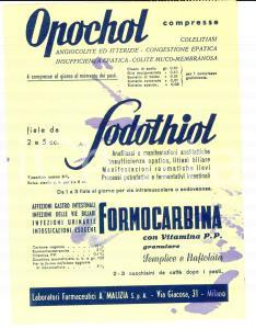 1960 ca MILANO Laboratori Farmaceutici MALIZIA Pubblicità su carta assorbente