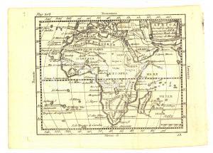 1790 ca Claudio BUFFIER Geografia universale - AFRICA *Mappa 24x18 cm
