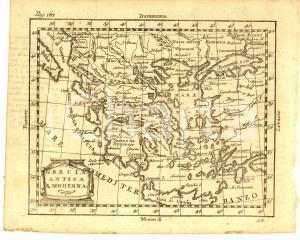 1790 ca Claudio BUFFIER Geografia - GRECIA antica e moderna *Mappa 24x18 cm