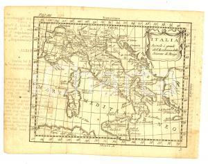 1790 ca Claudio BUFFIER Geografia universale - ITALIA *Mappa 22x16 cm