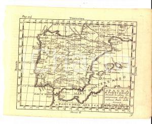 1790 ca Claudio BUFFIER Geografia universale - Spagna e Portogallo *Mappa 22x17