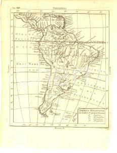 1790 ca ANONIMO GEOGRAFIA America Meridionale *Mappa 21x28 cm