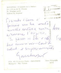 1964 MONOPOLI Castello S. STEFANO - Cartolina prof. Luigi GAUDENZIO *Autografo
