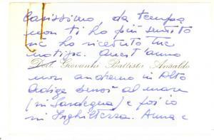 1980 ca GENOVA Giovanni Battista ANSALDO  - Biglietto da visita AUTOGRAFO