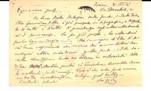 1921 TORINO Vittorio CIAN pubblica articolo di un collega - Cartolina AUTOGRAFA