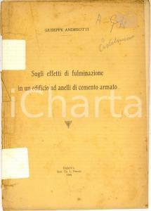 1935 Giuseppe ANDREOTTI Sugli effetti di fulminazione - AUTOGRAFO DANNEGGIATO