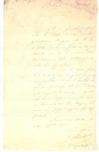 1888 BOLOGNA Condoglianze on. Gualtiero SACCHETTI - Lettera AUTOGRAFA