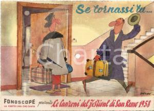 1958 FESTIVAL SANREMO Se tornassi tu... *Cartolina FONOGRAPH Illustrata 20x15 cm