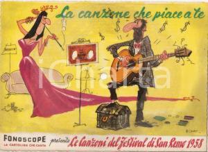 1958 FESTIVAL SANREMO La canzone che piace a te *Cartolina FONOGRAPH Illustrata