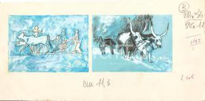1955 ca IL VITTORIOSO L'aratro nell'antichità - Illustrazione ORIGINALE *28x14