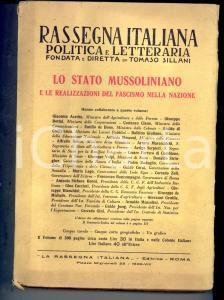 1930 RASSEGNA ITALIANA Lo Stato mussoliniano e le realizzazioni del fascismo