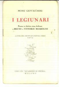 1929 Petru GIOVACCHINI I legiunari *Ed. QUADERNI DI POESIA - Cultura corsa