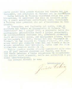 1934 SCHIO Guido CIBIN sulla vicenda della Festa dello Statuto *Autografo
