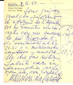 1952 ROMA Soprano Margherita CAROSIO trionfa in concerto a L'Aquila - Autografo
