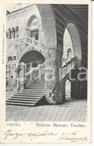 1900 ca VERONA Scalone del mercato vecchio - Scorcio panoramico *Cartolina FP VG