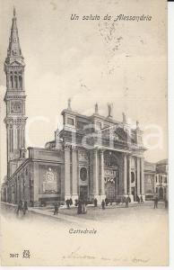 1928 ALESSANDRIA Cattedrale Santi Pietro e Marco con campanile *Cartolina FP VG