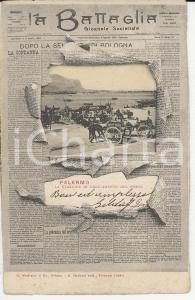 1903 PALERMO Cartolina LA BATTAGLIA Giornale socialista - Carretti al porto