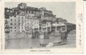 1905 ca VERONA Castel San Pietro visto dalle sponde dell'Adige *Cartolina FP VG