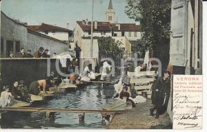 1903 VERONA Lavatoio pubblico nel fiumicello in Corso XX Settembre *Cartolina FP