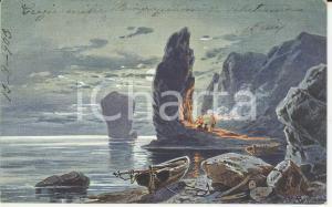 1903 ARTE Naufraghi accendono fuoco di segnalazione *Cartolina ILLUSTRATA FP VG