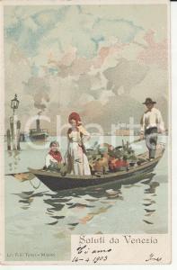 1903 VENEZIA Gondoliere trasporta fioraia con carico di fiori *Cartolina FP VG
