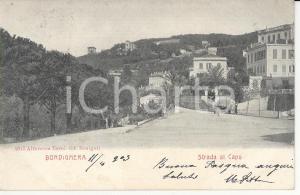 1905 BORDIGHERA (IM) Calesse percorre Strada al Capo *Cartolina FP VG