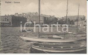 1915 ca CAGLIARI Veduta della Darsena *Cartolina postale ANIMATA barche FP NV