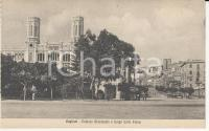 1915 ca CAGLIARI Palazzo Municipale e Largo Carlo Felice *Cartolina ANIMATA FP