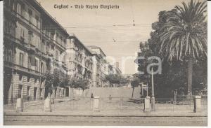 1915 ca CAGLIARI Veduta del viale Regina Margherita - Cartolina ANIMATA FP NV