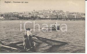 1915 ca CAGLIARI Panorama dal mare *Cartolina ANIMATA barche pescatori FP NV