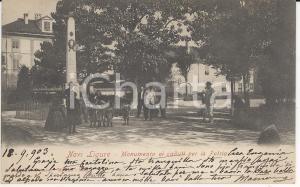 1903 NOVI LIGURE Bambini radunati sotto il monumento ai Caduti *Cartolina FP VG