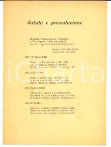 1950 ca SATIRA POLITICA Stornelli ai politici DE GASPERI - SARAGAT - SCELBA
