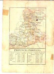 1790 ca PROVINCIA PADOVANA divisa in distretti colle distanze - Stampa 18x24 cm