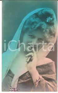 1909 BELLE EPOQUE TEATRO Attrice con velo di pizzo - Cartolina colorata FP VG
