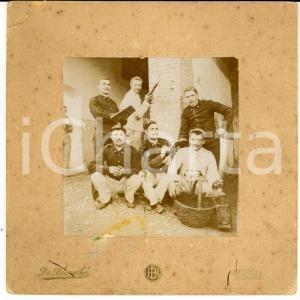 1900 ca VERONA Gruppo di ufficiali in una cascina *Foto GOLIARDICA 13x13