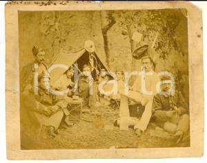 1915 ca WW1 ZONA DI GUERRA Ufficiali a riposo in accampamento *Foto 16x13
