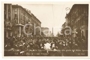 1921 MILANO Sagra della Vittoria - Corteo per Milite Ignoto in corso Vittoria