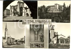 1964 SPILIMBERGO Vedutine Torre - Castello - Chiesetta dell'Ancona *Cartolina