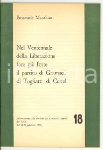 1965 Emanuele MACALUSO Nel Ventennale della Liberazione - Pubblicazione PCI