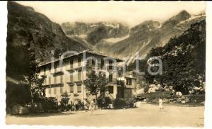 1942 FORNO ALPI GRAIE Veduta con il Grande Albergo Bonino - Cartolina ANIMATA