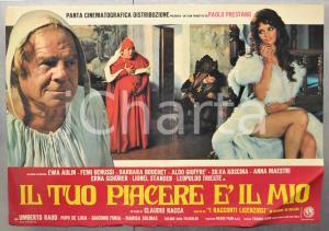 1972 IL TUO PIACERE È IL MIO Femi BENUSSI Ewa AULIN Fotobusta DANNEGGIATA 66x46