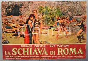 1961 LA SCHIAVA DI ROMA Rossana PODESTÀ Guy MADISON Fotobusta DANNEGGIATA 66x46